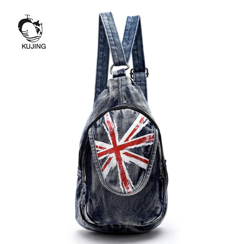 KUJING Fashion Backpacks High Quality Denim Women Backpack Hot Women Travel Casual Canvas Backpack Cheap Luxury