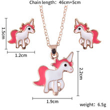 unicorn necklace  Cartoon Horse Set Chain Unicorn Necklace Kids Jewelry Girls Best Gifts wholesale lots bulk