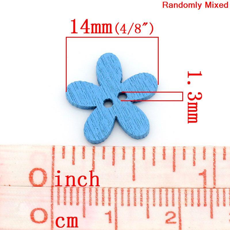 HTB1.CRFXtW5K1Rjt XBq6ysuFXay DoreenBeads Wood Sewing Buttons Scrapbooking Craft Garment Clothes DIY Supply Flower 2 Holes Color At Random 14 x 15 mm, 20 PCs