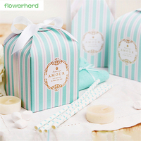 50pcs/lot Candy Box Cookie Box with 25Yards Tiffany Blue Ribbon Wedding Gift Box Birthday Candy Box Baby Shower Party Supply