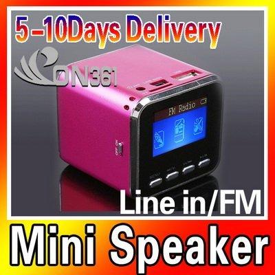 Mini Protalbe Digital LCD MP3 Player Speaker FM Radio USB Disk Micro SD TF Card Rose Red with 5pec/lot