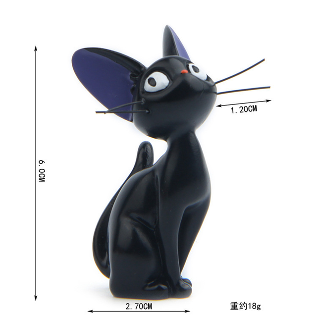 Resin Jiji's Delivery Service Cat Figurines White Animal Ornaments Black Cat Kiki Gigi Miniatures Fairy Garden Decoration Crafts 2