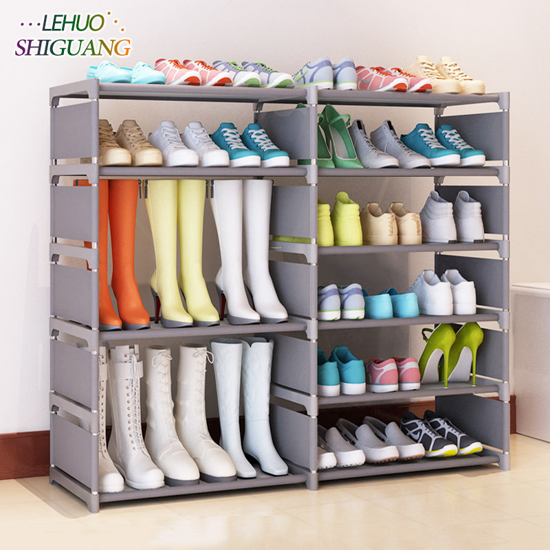 Double row Shoe rack Non-woven fabric Assembly Shoe cabinet home living room Furniture Boots organizer storage cabinet single row 9 grid shoe rack non woven fabric organizer storage cabinet assembly shelf shoe cabinet home living room furniture