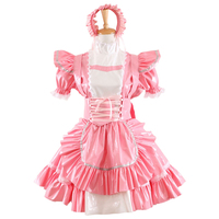 New Arrival Pink PVC Sissy Maid Dress Uniform Cosplay Costume Anime Costume