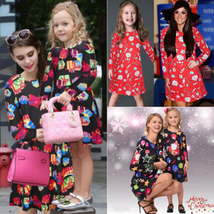 2018 New Christmas Gift Box Dress Mother Daughter Colofrul Dress Long Sleeve Xmas Children Parent Family Matching Clothes