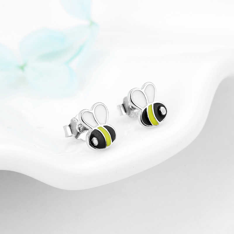 925 Sterling Silver Colorful Little bee Stud Earrings for Women party Fashion Jewelry Anniversary gift