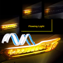 цена 2Pcs/Set Flexible Car Led Daytime Running Turn Signal DRL Strip Lamp Auto Flowing DRL Indicator Led Light Assembly Waterproof