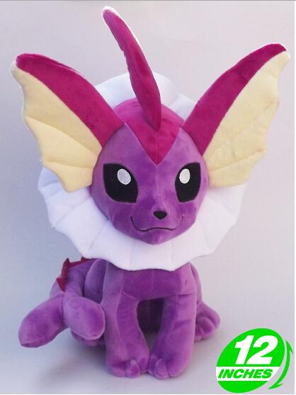 """Envío gratis 12 """" Pokemon juguetes de peluche púrpura Vaporeon muñecas Cosplay del Anime muñecas para niños regalos navidad"""