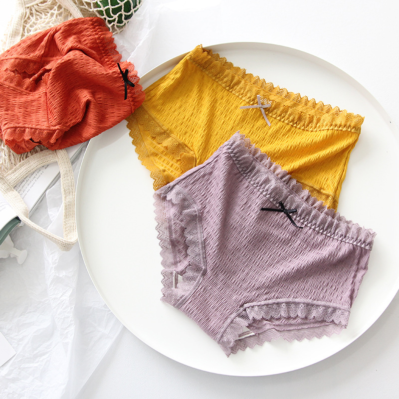 Lace Womens Panties Fashion Comfortable Womans Underpants  Antibacterial Breathable Elastic Color Briefs Females Panties  Womenwomens panties