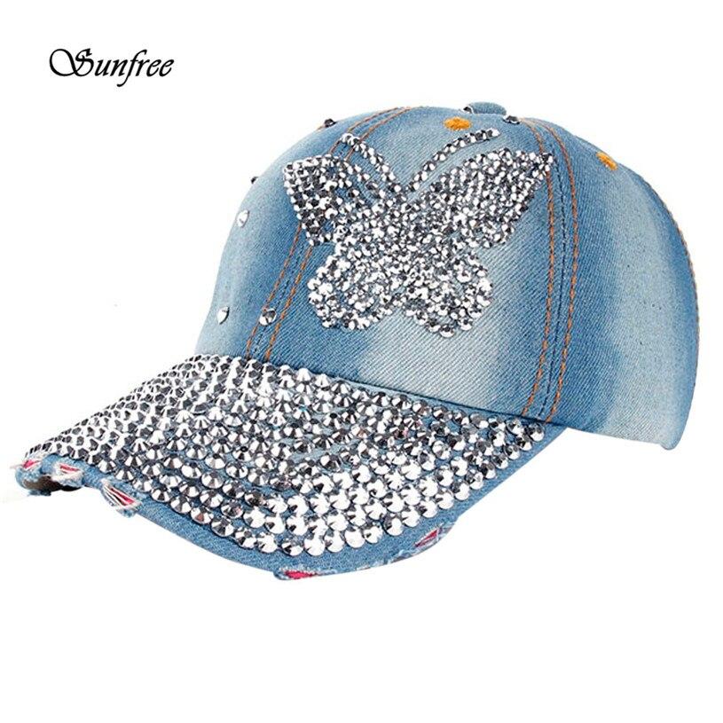 2018 Caps Women Men Butterfly Denim Rhinestone Baseball Cap Snapback Hip  Hop Flat Hat Brand New High Quality May 23-in Baseball Caps from Apparel ... c4482ceeaf1