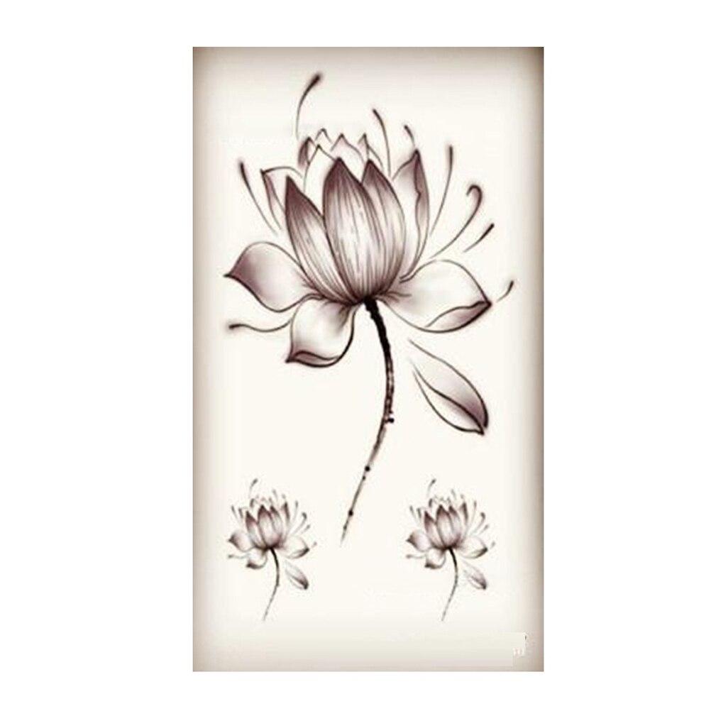 Black waterproof lotus flower stickers women lotus flower tattoo nouveau gros transfert de leau tatouages temporaires autocollants tanche faux tatouage autocollants de couleur izmirmasajfo