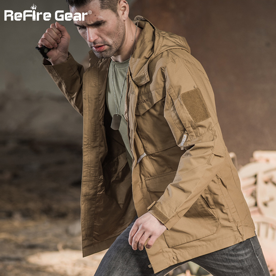 ReFire Gear Tactical Long Coat Men Autumn Hooded Trench Jacket US Army Field Military Jacket Coat Waterproof Pockets Windbreaker-in Trench from Men's Clothing    1
