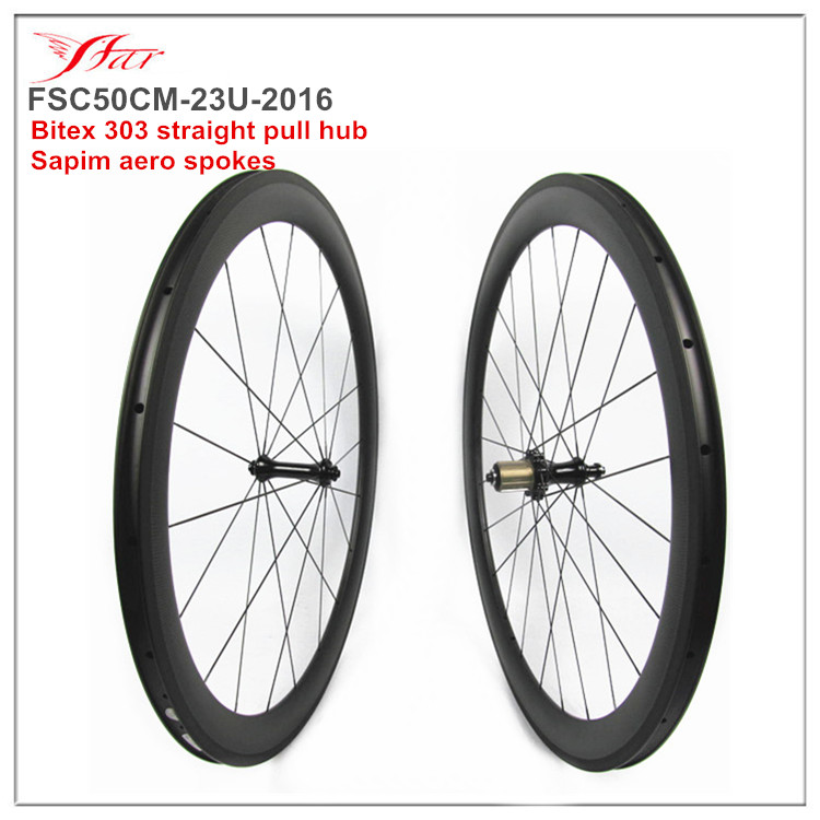 Lightweight carbon wheelsets 1430g, 50mm deep 23mm wide clincher rims, Bitex 303 hub with anti bite design and 6 pawls