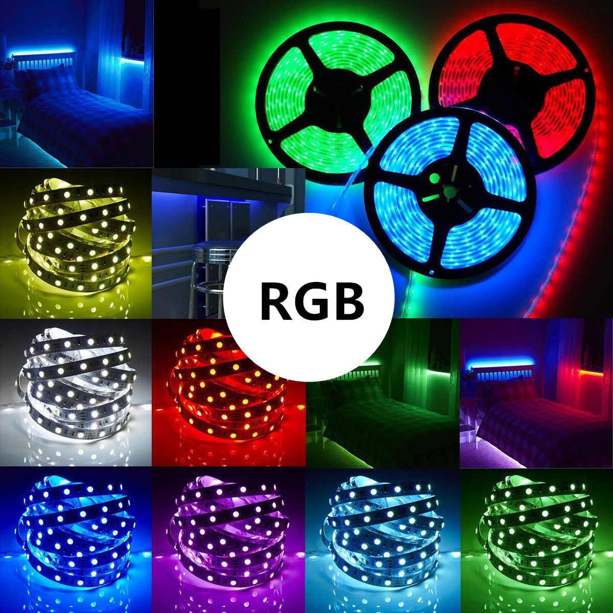 10 м 5 м RGB Светодиодные ленты 5 М 5050 SMD светодио дный свет ленты гибкая лента Водонепроницаемый ИК-пульт дистанционного управления Питание от напряжения постоянного тока 12 V адаптер полный комплект