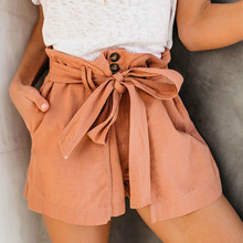 2019 New Summer Slim Cotton Shorts Large Size Was Thin Casual Wide Leg Shorts Solid Color Button Tie Pocket Loose Shorts Brown