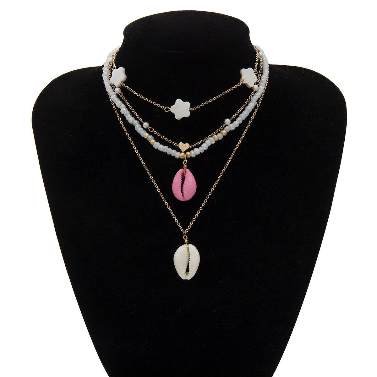 2019 New 2PCS Set Bohemian White Beads Choker Necklace Korean Multi layer Heart Shell Pendant Long Chain Necklace Lover Jewelry in Pendant Necklaces from Jewelry Accessories