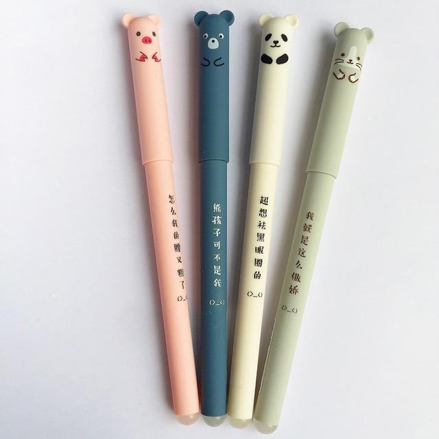 Animali del fumetto Penna Cancellabile 0.35 millimetri Cute Panda Gatto Magico Penne Kawaii Gel Penne Per La Scuola di Scrittura Cancelleria Della Novità Delle Ragazze regali 3