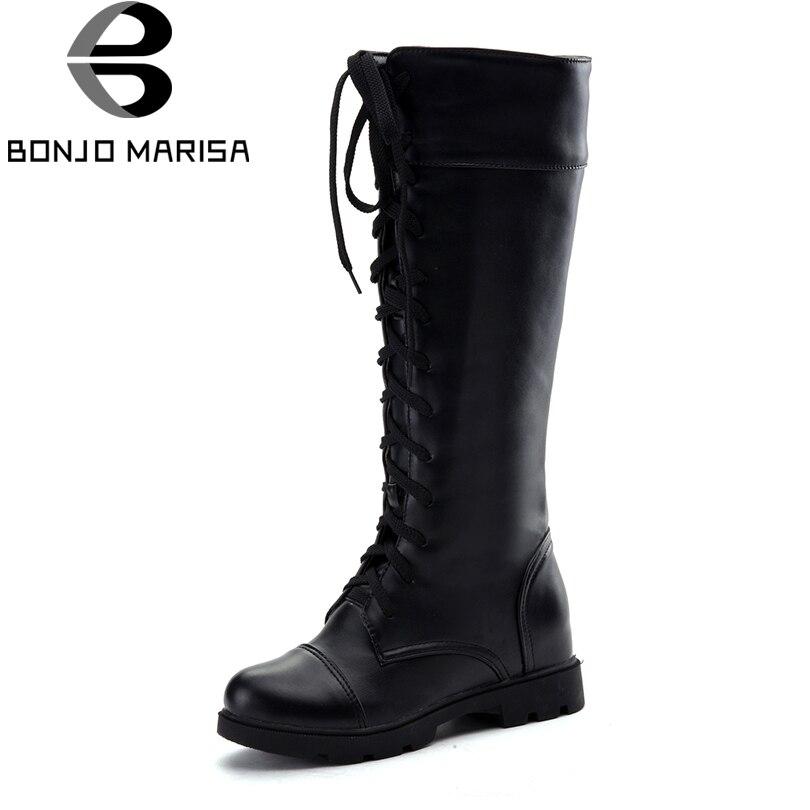 BONJOMARISA Big Size 34 43 Women Knee Boots Lace Up Vintage Fur Shoes Woman Flat Heels