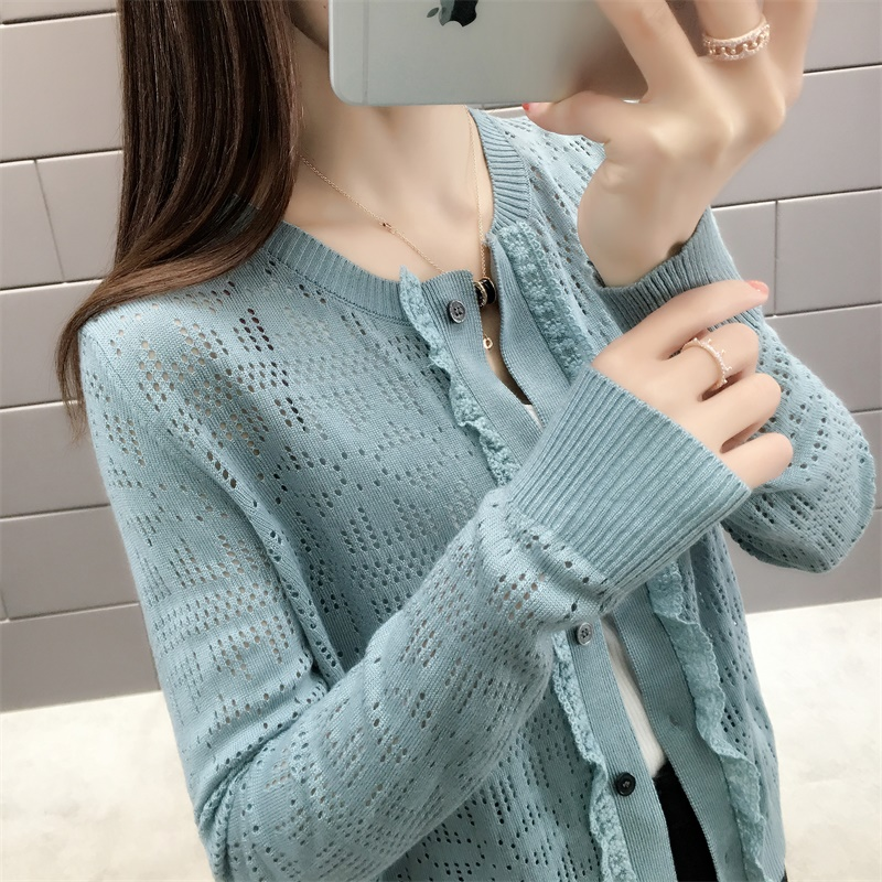 New Fashion 2019 Spring And Summer Women Slim Knit In Solid Colour Cardigan Full Sleeves