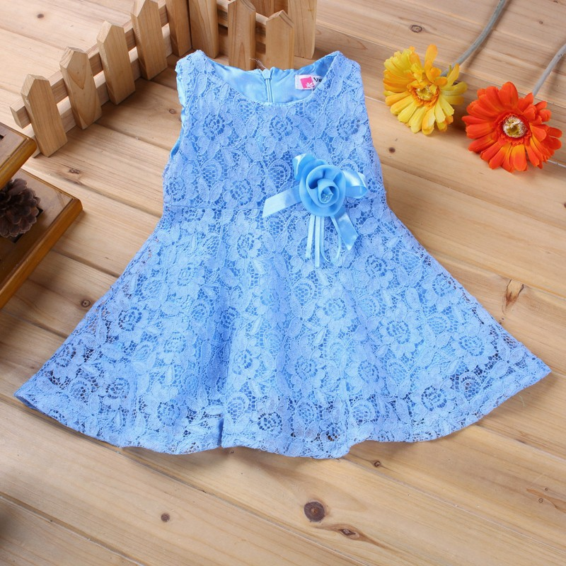 2017 Summer Baby Dresses Girl Princess Dress Flower Toddler Infant Newborn Baby Girls Party Wedding Dress Baby Lace Dress Brand