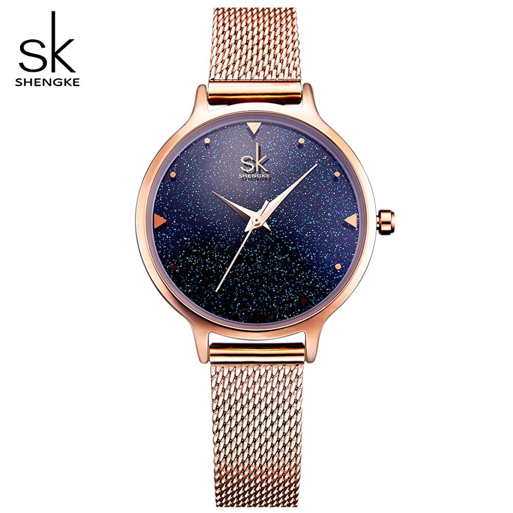 SHENGKE Femmes Élégantes montres à quartz Dames Or Rose bande en acier inoxydable montres-bracelets Horloge Étanche montre femme
