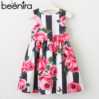 Beenira Children Dress European And American Style 2018 Girls Sleeveless Striped Flower Princess Dress Design Baby