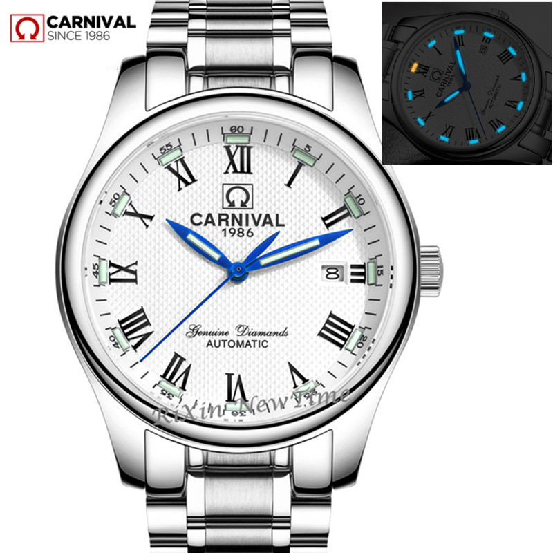 Carnival tritium luminous military automatic mechanical men watches sapphire luxury brand full steel watch clocks montre