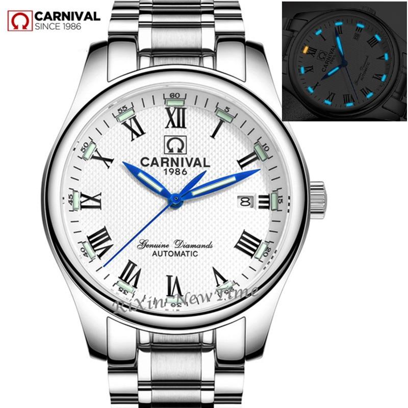 Carnaval tritium lumineux militaire automatique mécanique hommes montres saphir de luxe marque en acier plein montre horloges montre horloge
