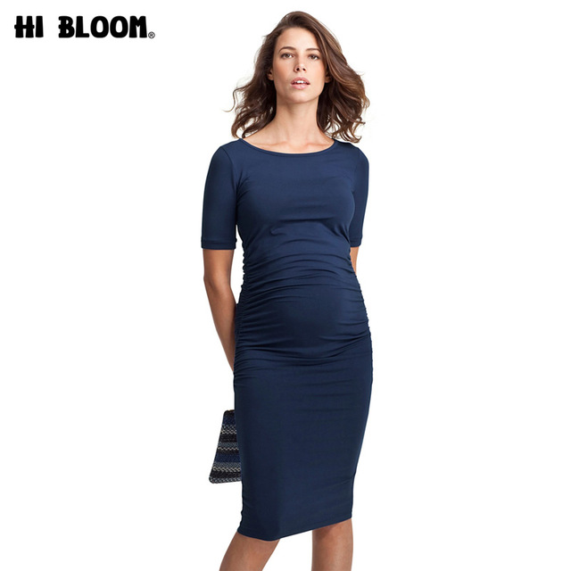 b6e681b47163a Maternity Dresses O-Neck Pregnancy Clothes for Pregnant Women Knee-Length  Office Lady Business Dress Costume