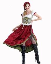 Octoberfest バイエルンギャザースカートメイド農民スカートドレスドイツオックスフォード運河衣装パーティー女性のオクトーバーフェストロングドレス