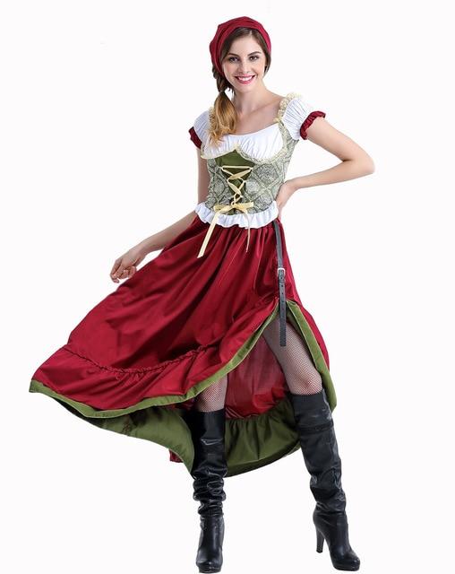 Octoberfest בוואריה שמלה כפרית חדרניות איכרים חצאית שמלת גרמנית בחורה תלבושות המפלגה נקבה אוקטוברפסט ארוך שמלה