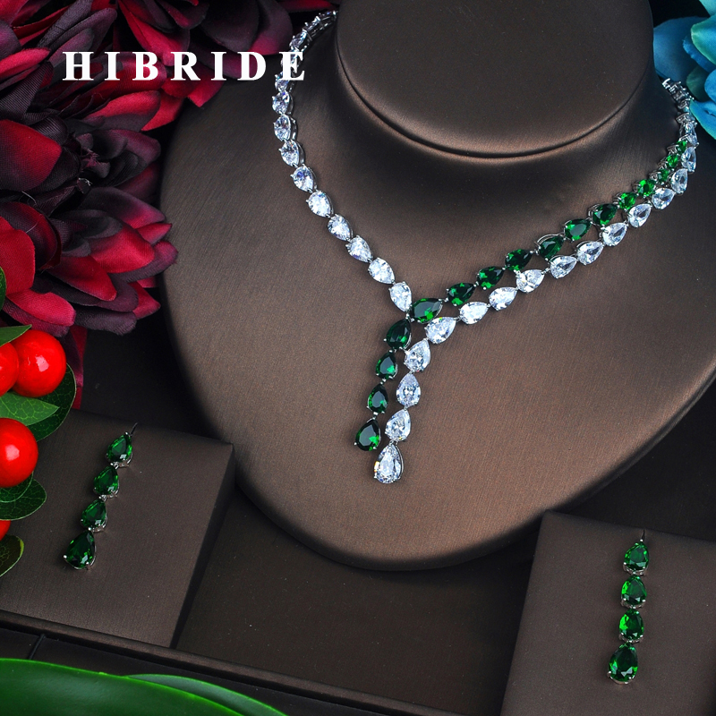 HIBRIDE Brilliant Green Water Drop Cubic Zirconia Jewelry Sets For Women Bride Necklace Set Wedding Accessories Wholesale N-423 hibride luxury top quality white green water drop shape cubic zirconia jewelry sets white gold color necklace earrings n 057