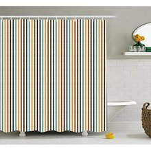 Vixm Brown Blue Shower Curtain Vertical Stripes Abstract