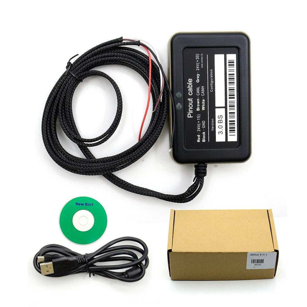 Эмулятор Adblue 8 в 1, эмулятор adblue 8 в 1 с программирующим адаптером, эмулятор Adblue для грузовика, бесплатная доставка