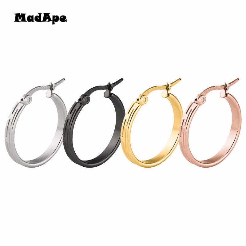 MadApe 2019 New Arrival 316L Stainless Steel Retro Hoops Earrings 15/20/25/30mm Gold/silver/black/rose Women Hoop Earrings