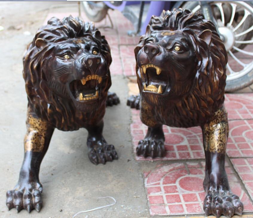 "33 ""China Fengshui Bronce Dorado Ferocidad de África León Panthera Leo Par Estatua"