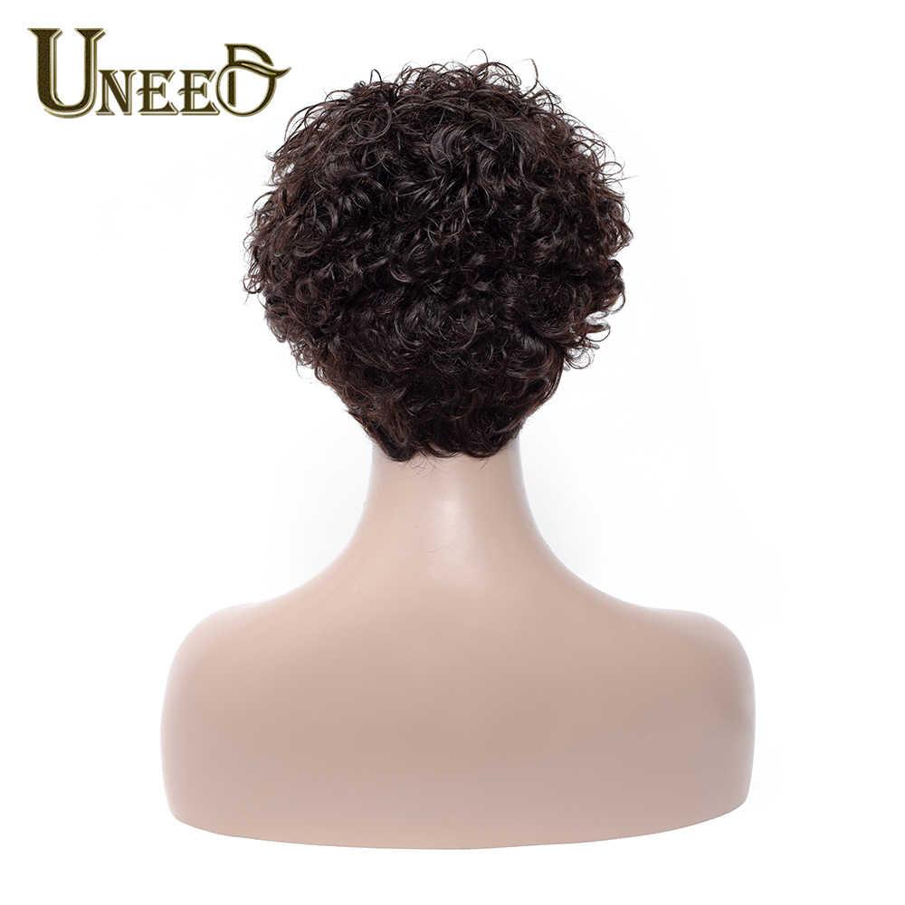 Uneed Saç 130% Yoğunluk Kısa Bob Peruk Brezilyalı kıvırcık insan saçı Peruk Kadınlar Için Doğal Siyah Olmayan Remy Saç Ücretsiz Kargo
