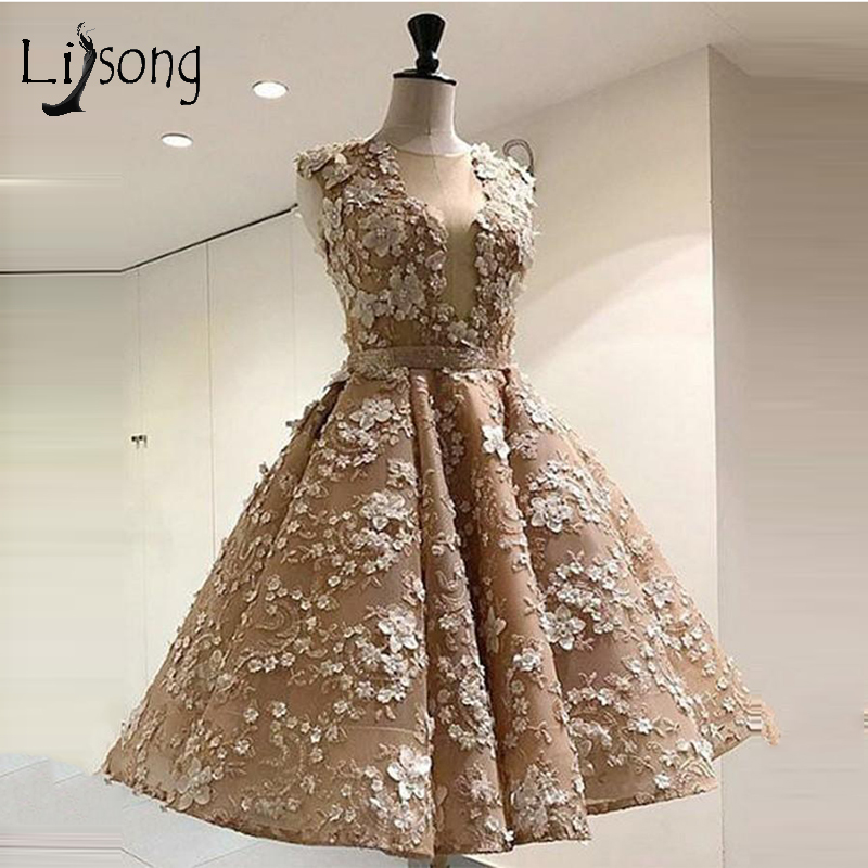 Vintage 3D Flower Beaded   Evening     Dresses   2018 Pearls Lace Champagne Tea Length   Evening   Gowns Lace Up Formal Party   Dress