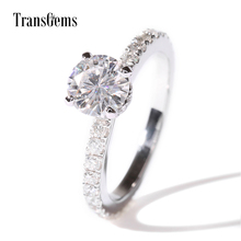 Transgems 1Ct 6.5mm F/GH Color Lab Moissanite Diamond Bridal Set Real Gold With Real Loose Genuine Diamond Accent Stones