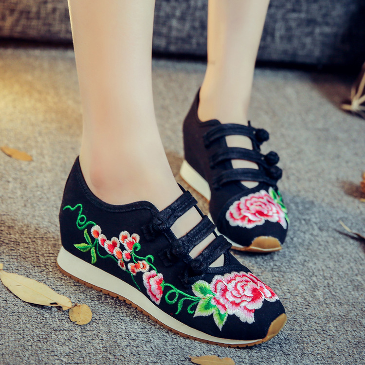 Spring Summer Cloth Shoes, Chinese Style Mary Janes Flats Embroidery Casual Shoes Woman, Plus Size 41 Dance Women Shoes plus size 41 fashion women shoes old elegant art party beijing mary jane flats with casual shoes chinese style embroidered clo