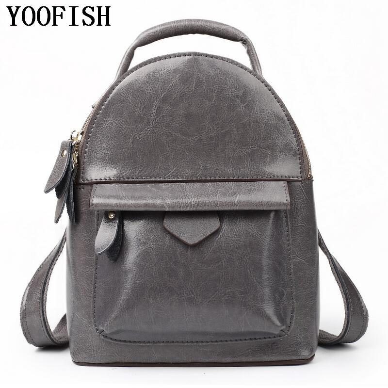 купить YOOFISH Preppy Style Women Bag Genuine Leather String Backpacks Female Fashion Girls Bags Ladies Casual Travel Backpack по цене 3470.59 рублей