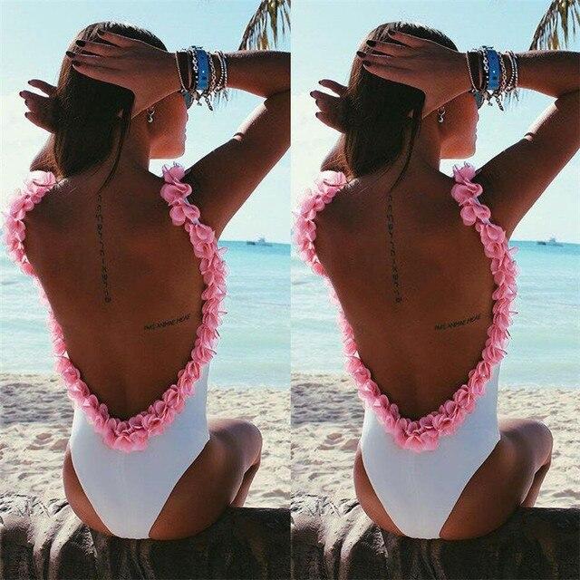 2017 Nueva Llegada de Una Pieza del traje de Baño Mujeres Trajes de Baño de La Vendimia Más El Tamaño Backless del traje de Baño de la Playa Impresión Acolchada Trajes de Baño Biquini