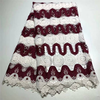 2019 African Laces Fabrics Embroidered nigerian Guipure French cord Lace Fabric High-quality African French Net Lace H355-2