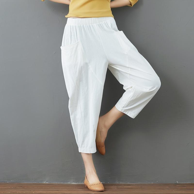 Summer Elastic Waist Cotton Linen Pocket Harem Pant Vintage Loose Mori Girl Oversized Home Tracksuit Plus Size Trouser Workout 38