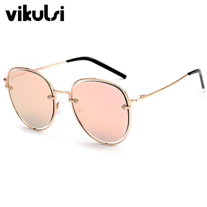2016 Italy Famous Hipster Brand Designer Women Sunglasses New Hollow Out Arrow Shapes Pink Mirror Oval Vintage Men Sun Glasses
