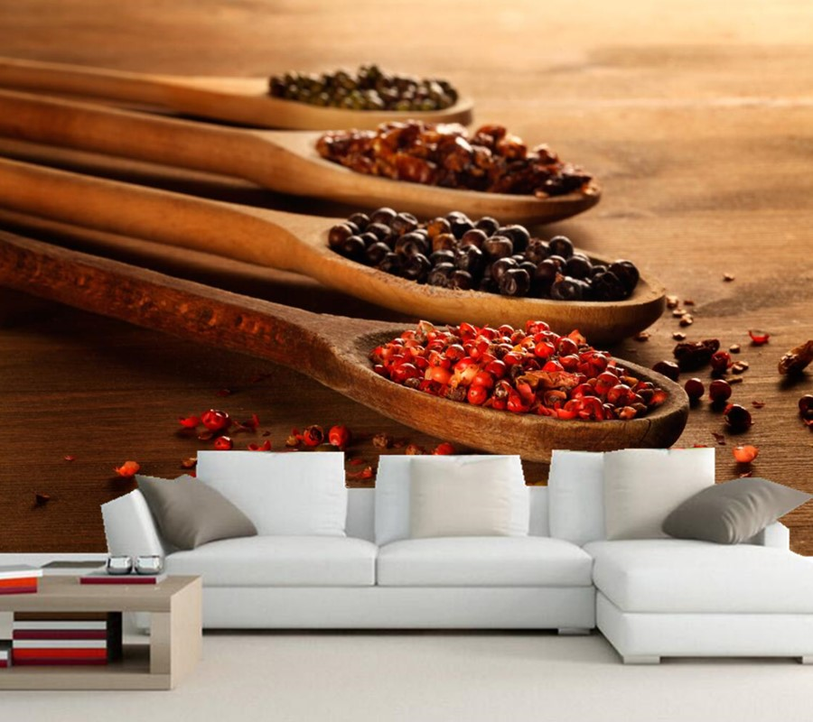 Custom Spices Spoon Food  mural wallpaper 3d,restaurant dining room sofa TV wall kitchen wallpaper for walls 3d papel de parede custom 3d wallpaper mural chinese style flower and bird wallpaper restaurant living room bedroom sofa tv wall papel de parede