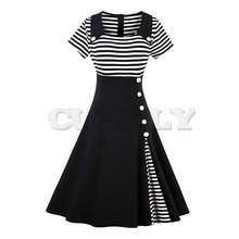 CUERLY vintage dress autumn black white striped patchwork short sleeve botton decoration 1950s 2019 women