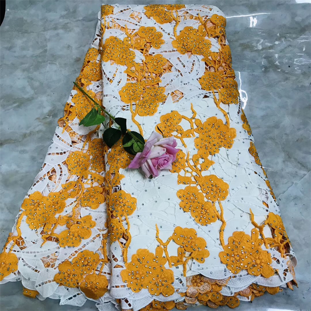 Tollola Orange African Lace Fabric 2019 High Quality Nigerian Lace Fabrics With Stones Embroidery French Cord Lace Fabric