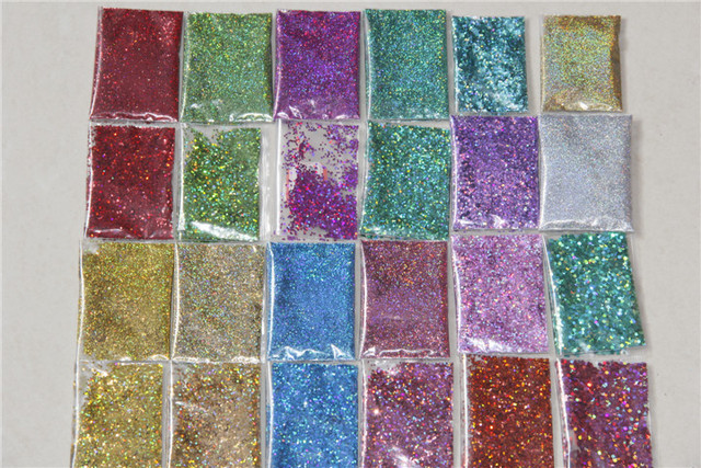 Laser Holographic Solvent Resistant Glitter set for Nail Polish nail art and DIY