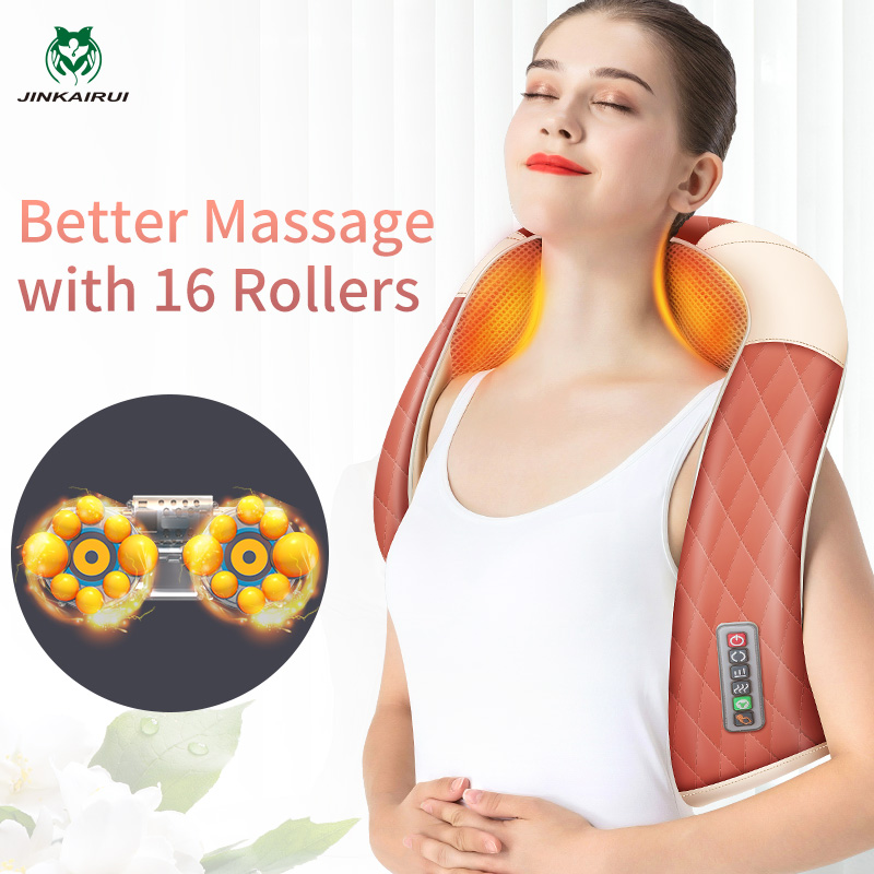 JinKaiRui Newest Neck Massager Free Shipping 16 Massager Rollers Relieve Pain Free Hands Heating Infrared Car